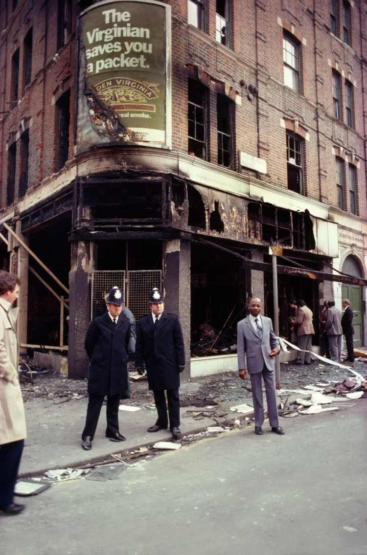 Burnt-out building in Brixton after policing-related riots in 1981. Helene Rogers / Art Directors & TRIP / Alamy Stock Photo