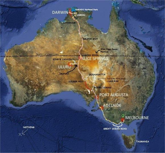 The white line shows you my route across Australia. Yellow dots are places where I stopped every day.