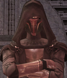 Just before one of the greatest reveals in video game history: Darth Revan removes his mask.