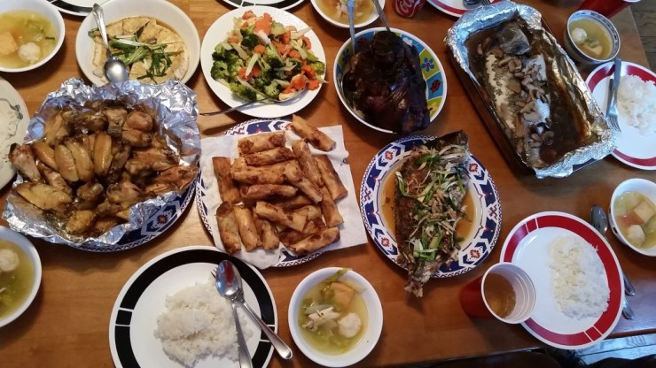 The feast, including the egg rolls. (Photo/Steph Koo)