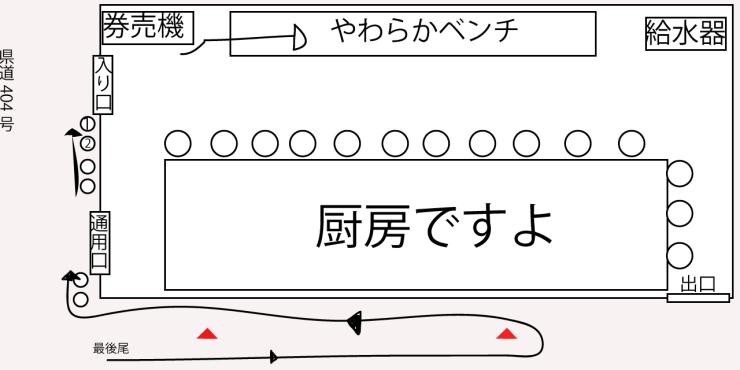 ラーメン二郎越谷店・店内&並び方