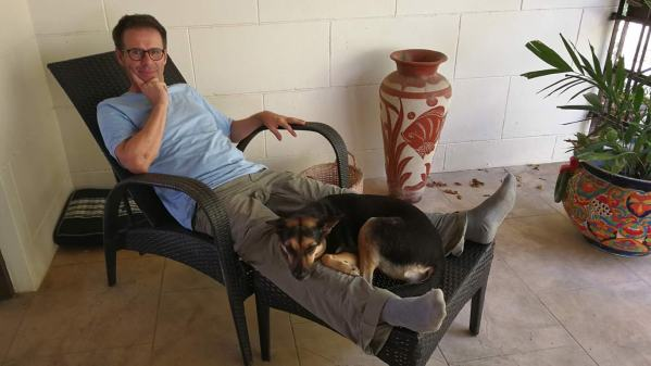 Ian relaxing with Dixie May
