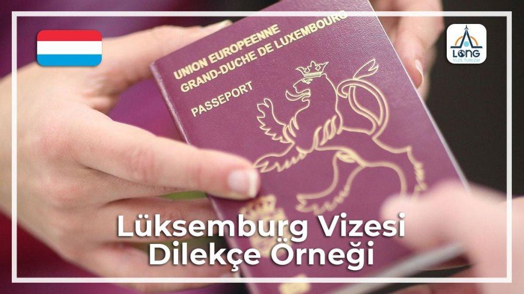 Vizesi Dilekçe Örneği Lüksemburg