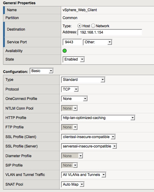 F5 BIG-IP LTM VE Virtual Server Configuration for the vSphere Web Client