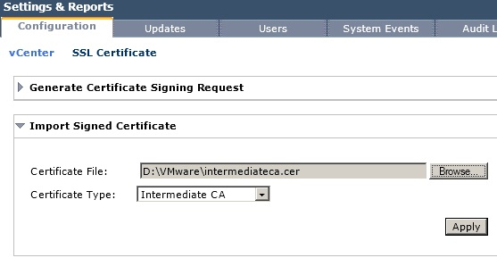 Import Intermediate CA Certificate to vShield Manager