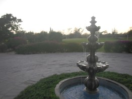 Fountain at golf course.
