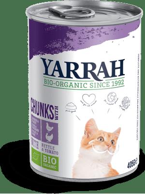 Kassikonservid Orgaaniline kassikonserv kana ja kalkuniga YARRAH 405g kalkun