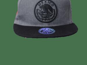 Gorra tipo patriota con logo Negro y bandera Mexico bordado