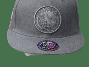 Gorra tipo patriota con logo Gris y bandera Mexico bordado