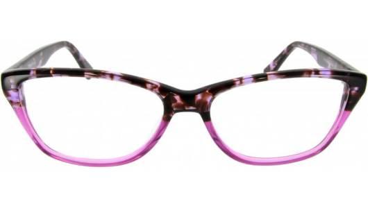 Pinke Cateye Brille halb gemustert