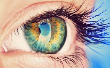 Nahaufnahme von blau braunem Auge