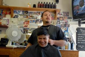 Kaden getting wedding haircut in Boston