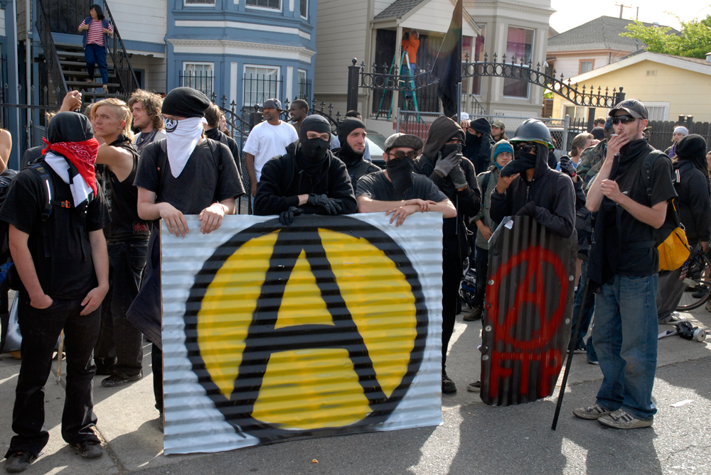 May Day March in Oakland - Anarchy signage