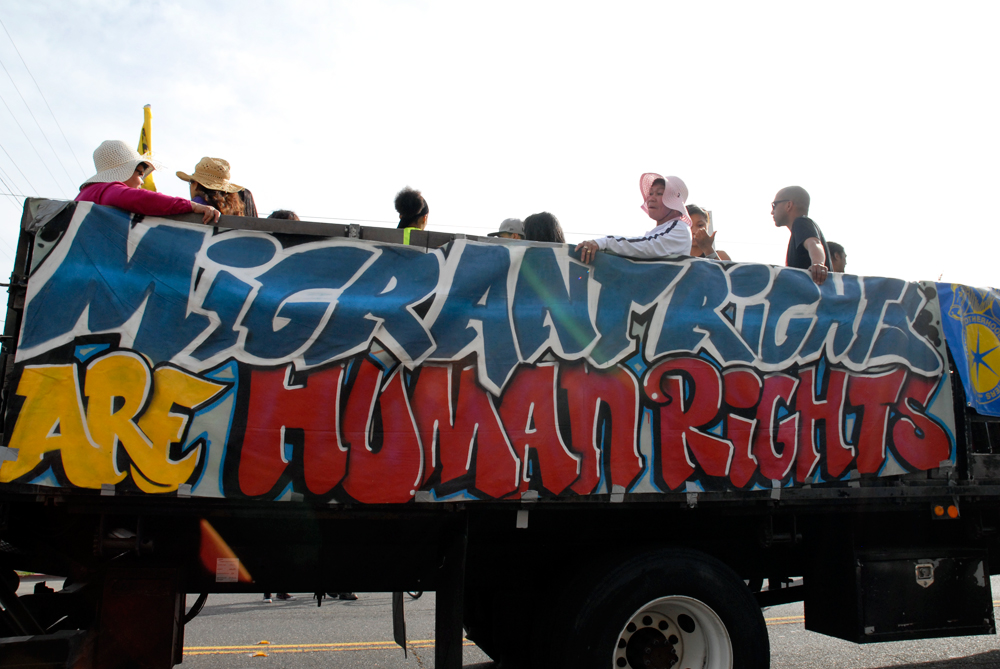 May Day March in Oakland - migrant rights are human rights