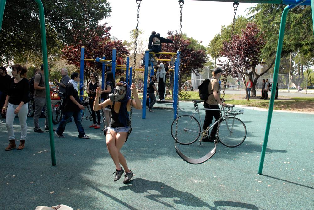 swinging with gasmask