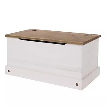 sierra white painted pine storage ottoman trunk toy box look again