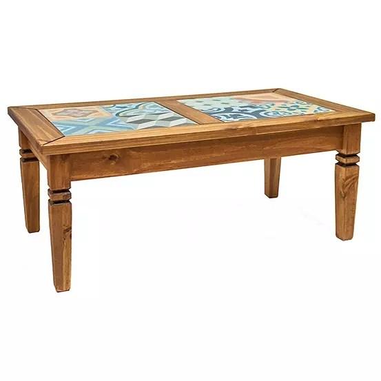 salvador pine spanish style tile top coffee table