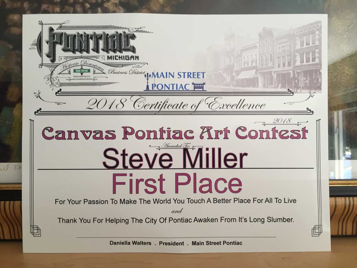 Award Certificate Canvas Pontiac