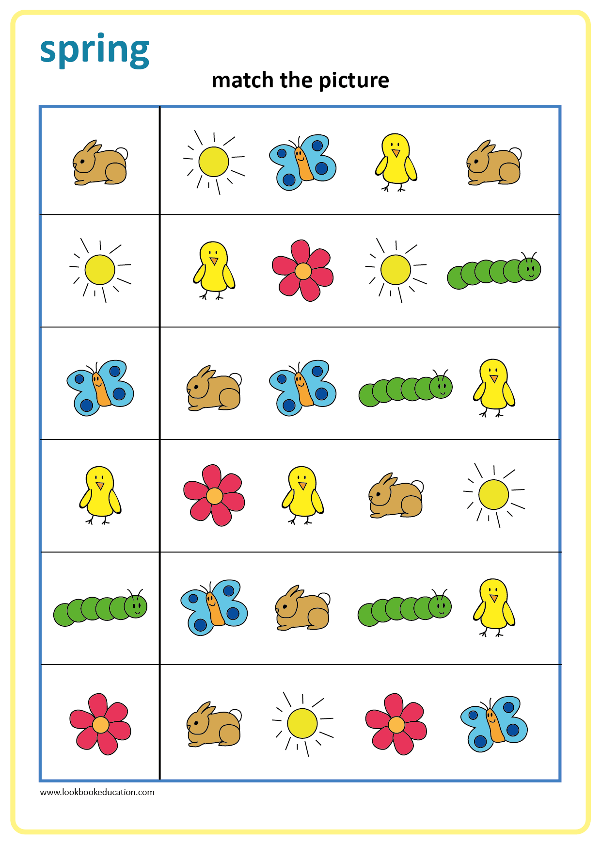 Worksheet Matching Spring