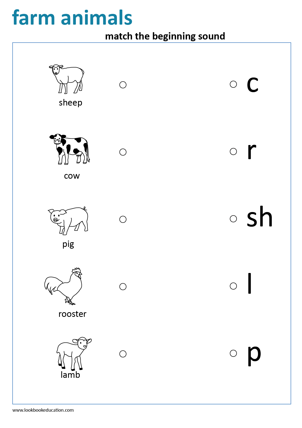 Worksheet Match The Beginning Sound Farm Animals