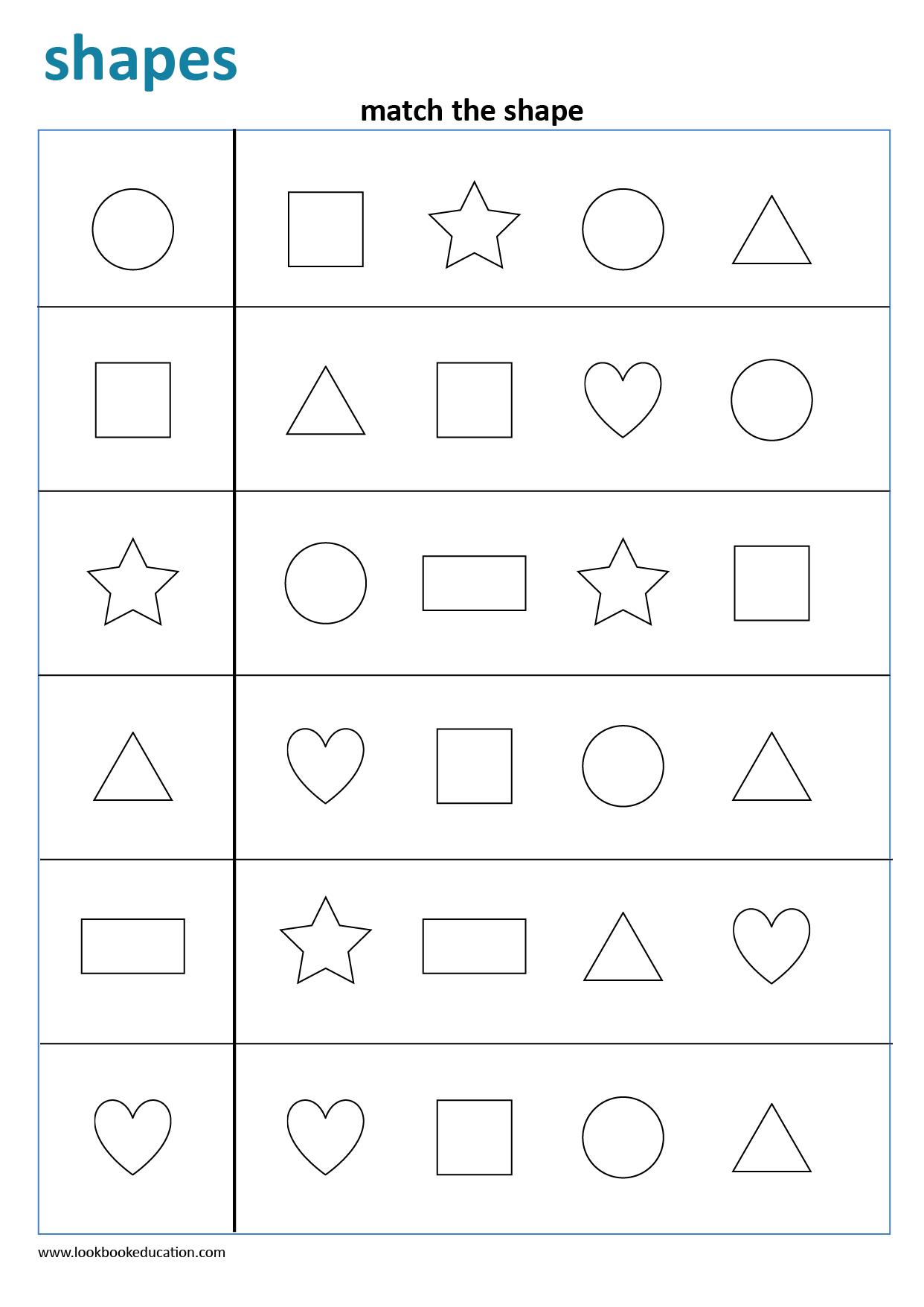 Worksheet Matching Shapes
