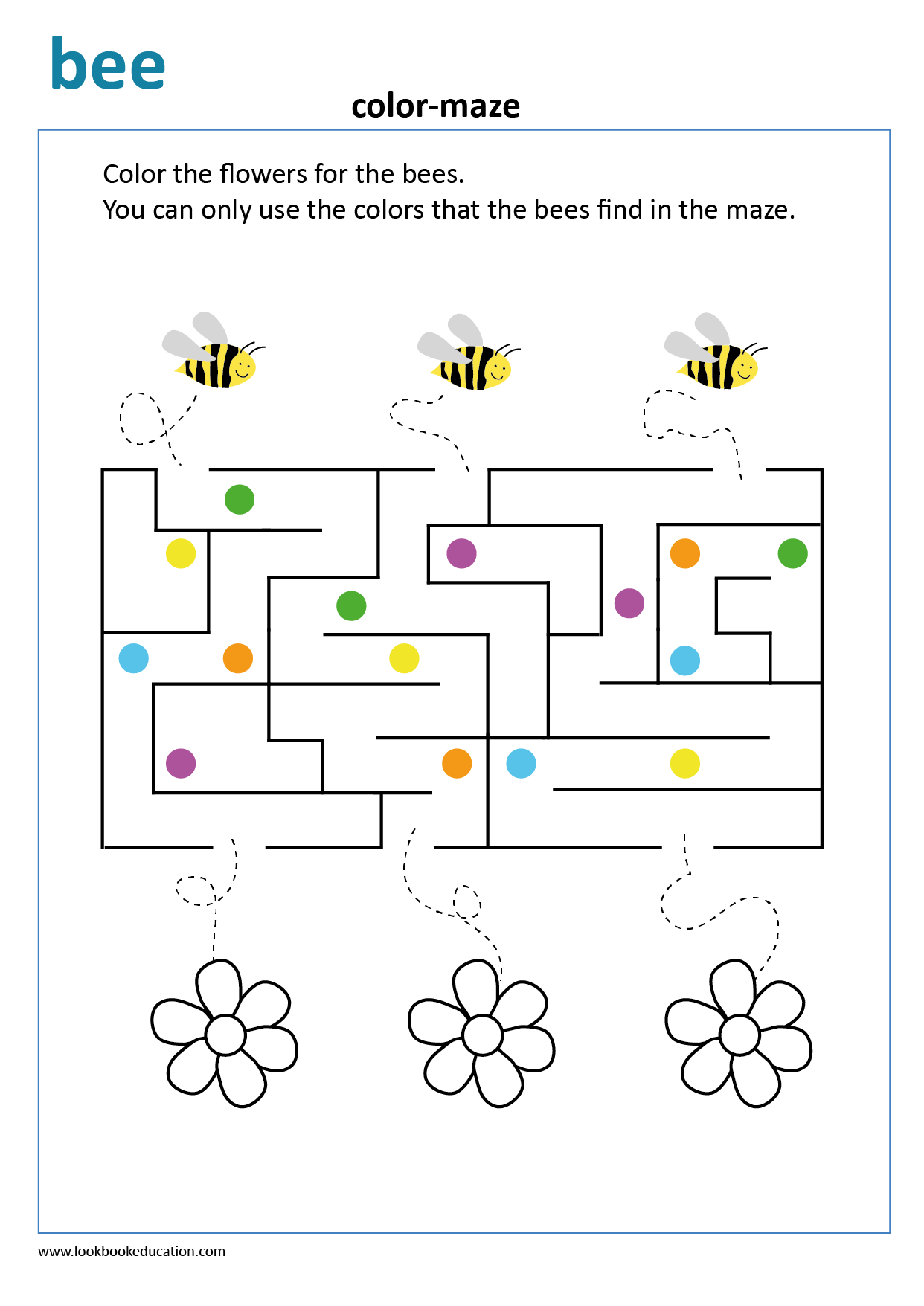 Worksheet Color Maze Bee
