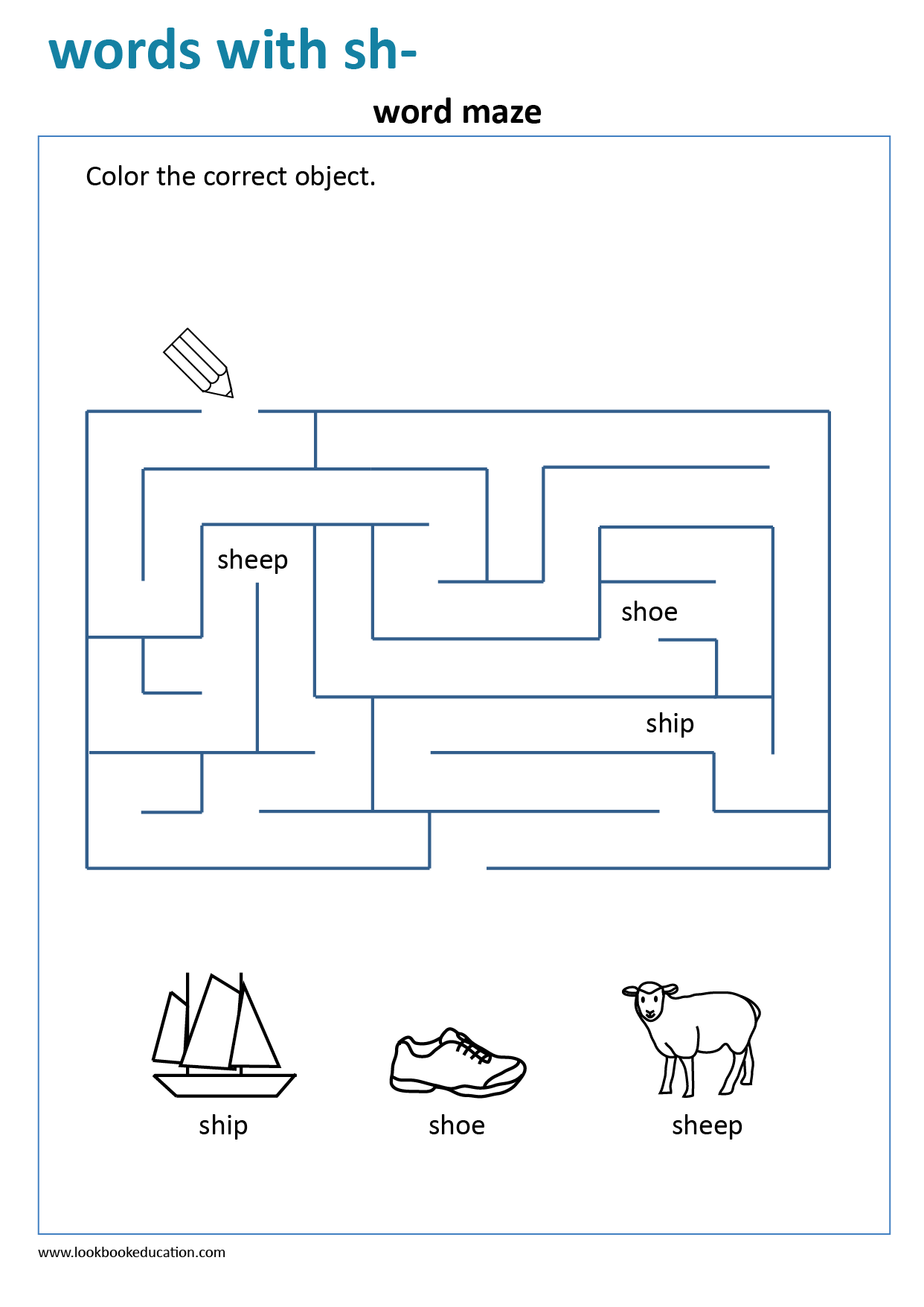 Worksheet Maze Words With Sh