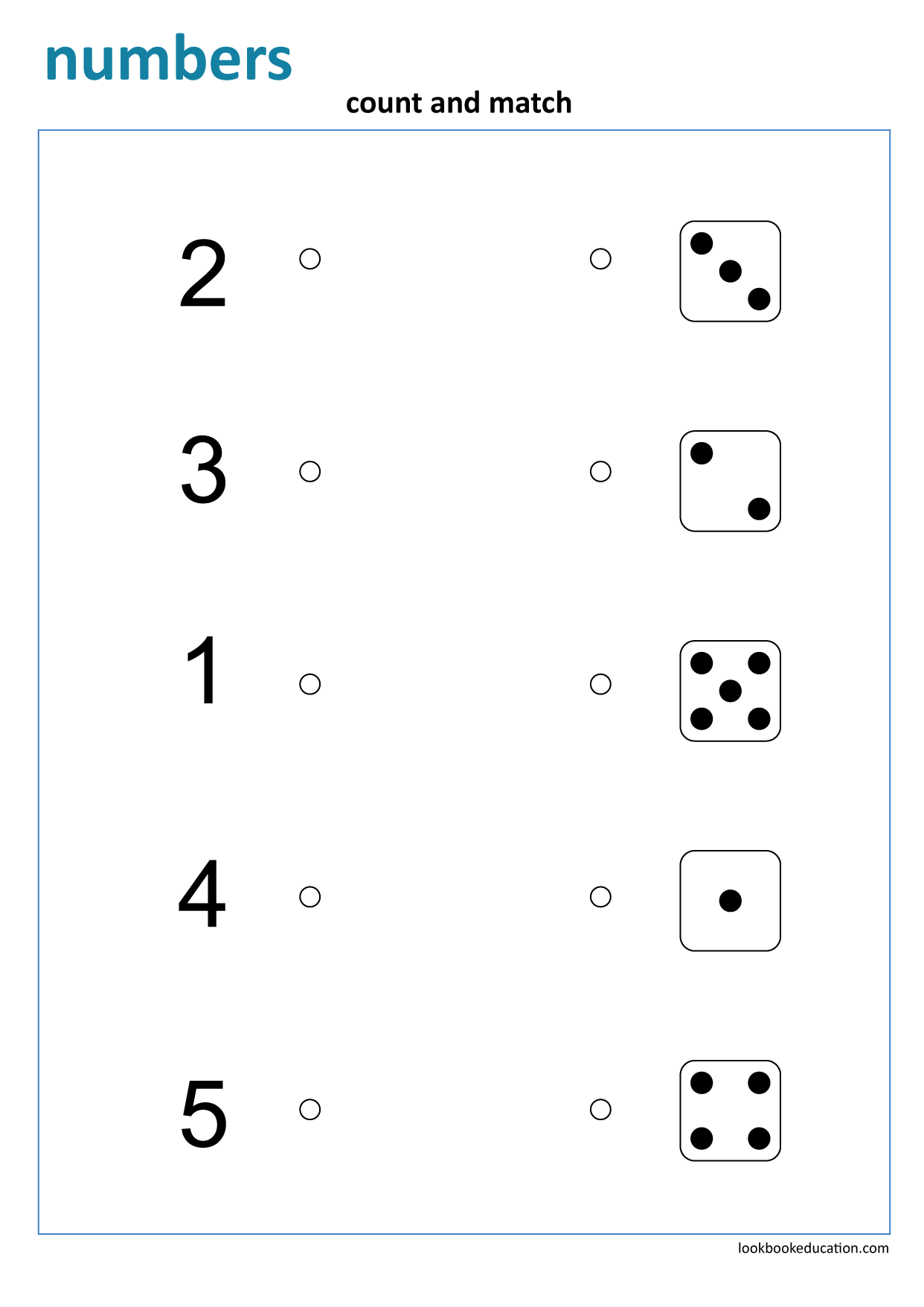 Worksheet Matching Numbers Dice