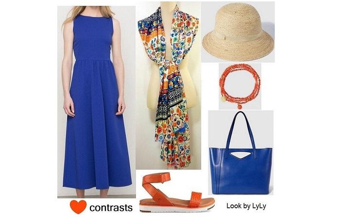 look en azul y naranja