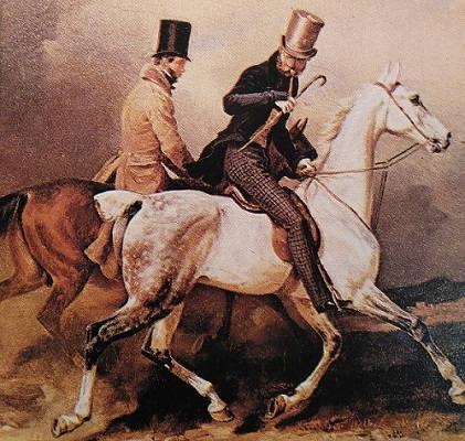 hombres a caballo con chistera