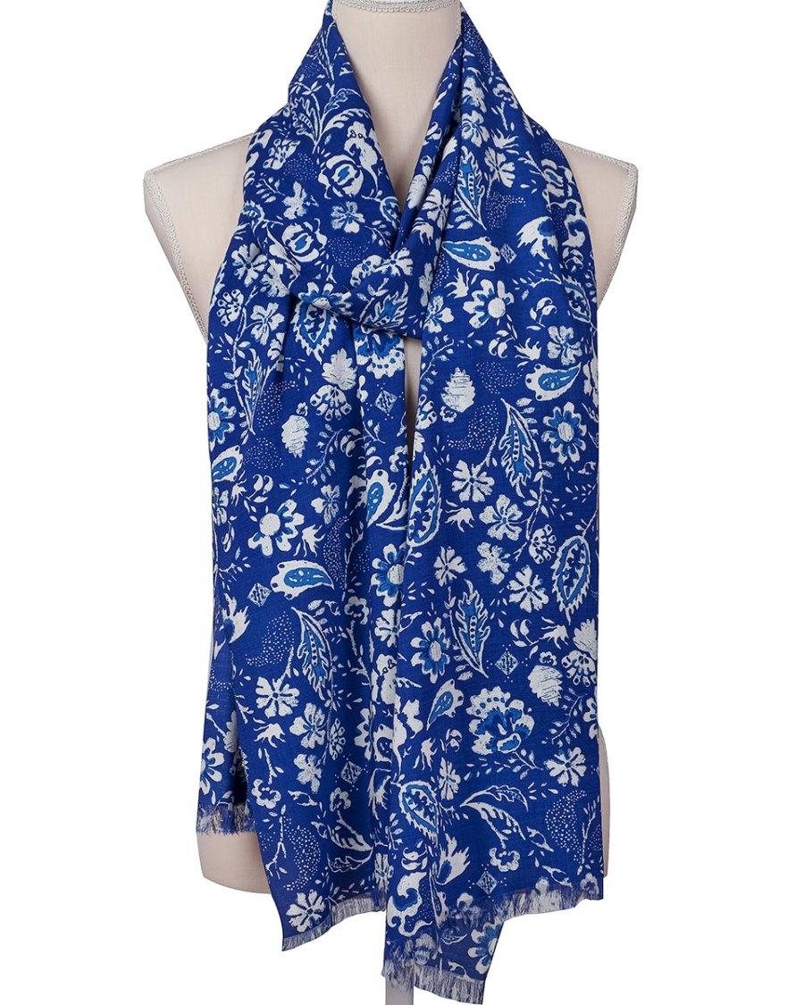 Fular mujer azul estampado edición limitada, moda sostenible Look by LyLy