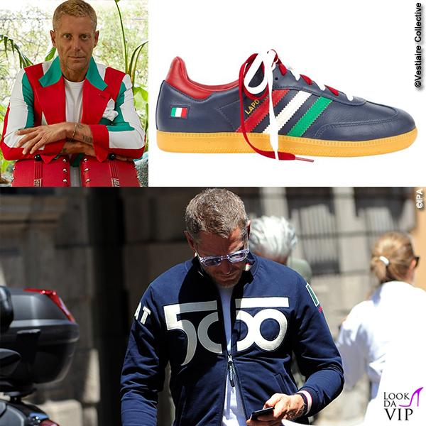Lapo Elkann per Vestiaire Collective mette in vendita la felpa Hydrogen le scarpe Adidas e il blazer tricolore