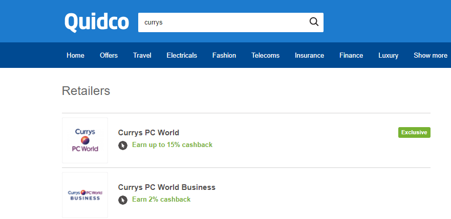quidco search results showing retailers