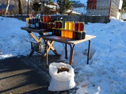 Honey of all varieties, fresh cheese, and walnuts being sold by the mighty sledding hill.