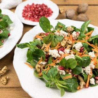 Lamb's Lettuce with Walnuts, Pomegranate, Carrots, and Soft Vegan Feta Cheese