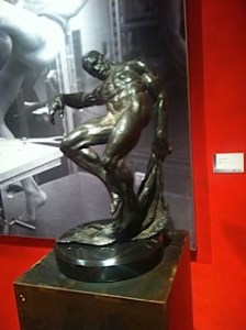 Richard MacDonald's sculptures at MEAM, you can check which one it is on his website. Or go to the museum and look at the small card on the wall.