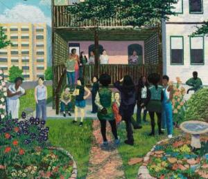 Kerry James Marshall. Garden Party, 2003. Photo: Tom Van Endye. Courtesy of the artist, the Jack Shainman Gallery, New York, and the Koplin Del Rio, California.
