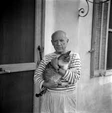 Pablo Picasso and a cat