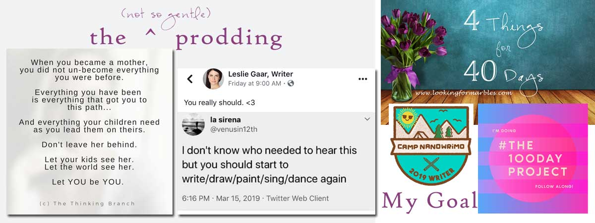 a post from The Thinking Branch, a retweet from Leslie Gaar, and then the words the (not so gentle) prodding on the left ... on the right a picture saying 4 things for 40 days, Camp NaNoWriMo, the100dayproject and the words My Goal