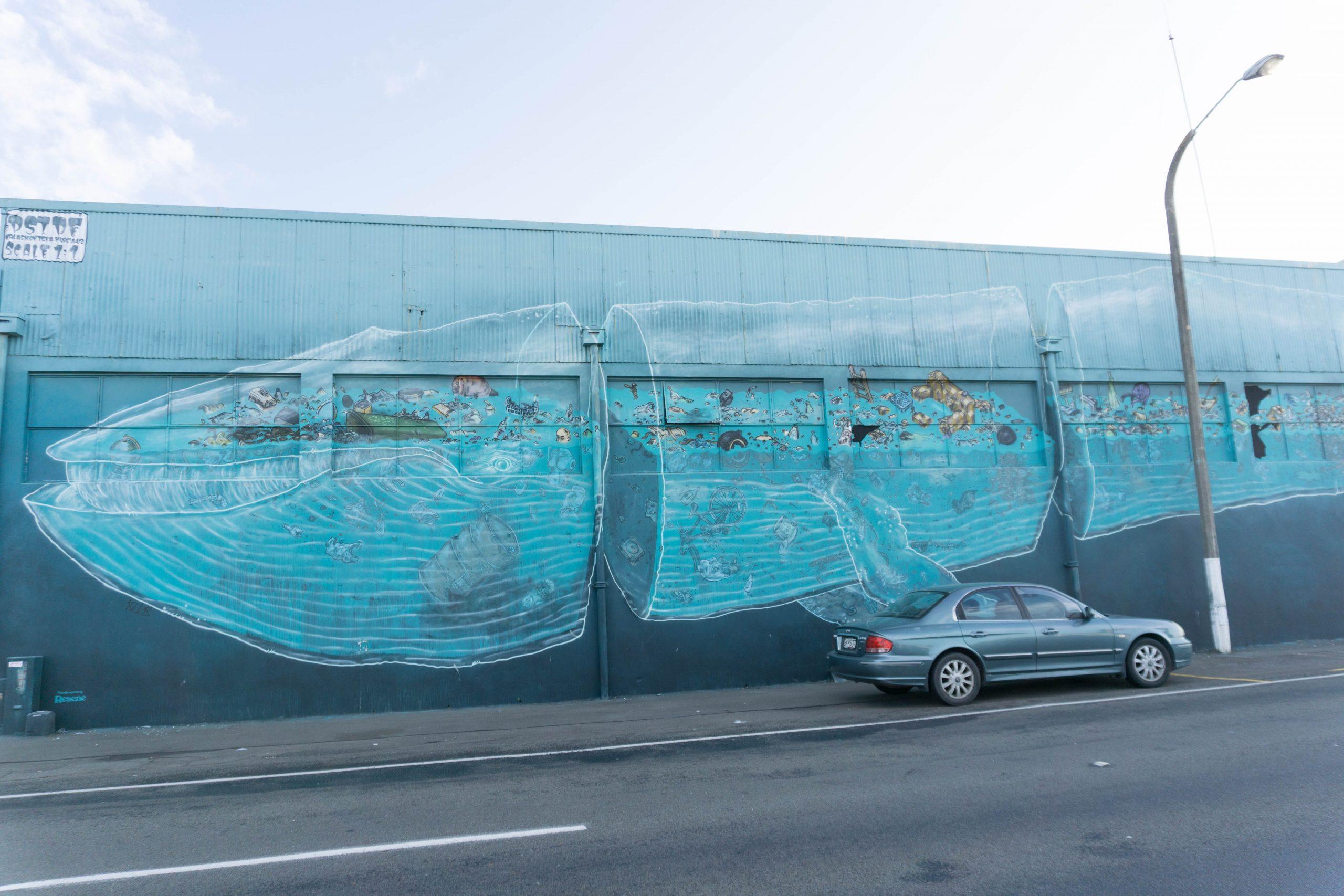 Pangeaseed Sea Wall whale in Napier