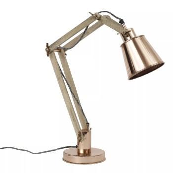 Lampa miedziana Nordal, drewniane ramię
