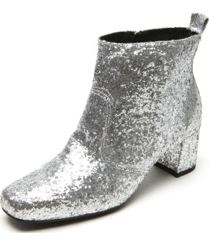 Bota Dafiti Shoes Cano Curto Glitter Prata - Dafiti Shoes