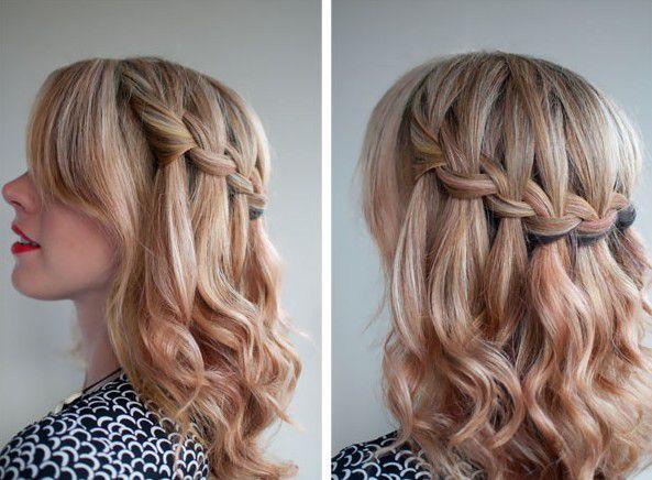 красивые прически с косами и распущенными волосами на средние волосы
