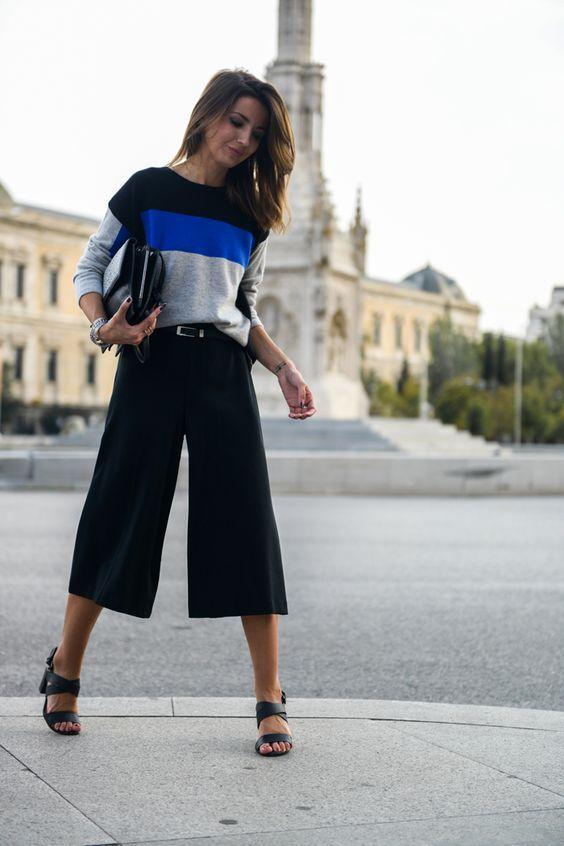 стильные черные брюки кюлоты со свитером для девушек