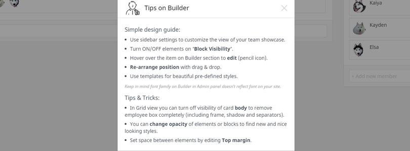 Team Builder Tips