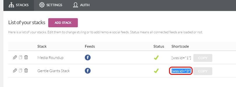 Social Stacks shortcode