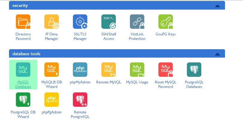 cPanel MySQL database icon