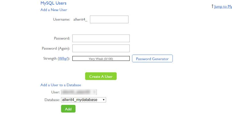 Create a db user via cPanel