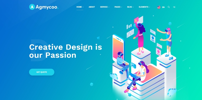 Agmycoo — Isometric Startup Creative Digital Agency WordPress Theme