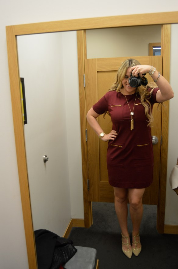 I love this wine colored dress!